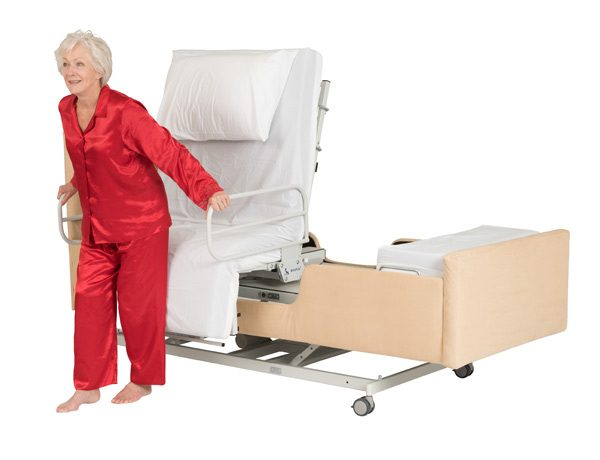 Woman standing up from electric bed