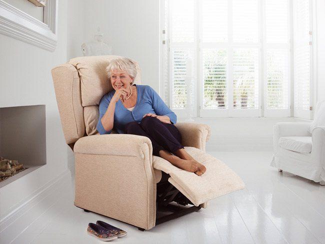 Beige reclining chair