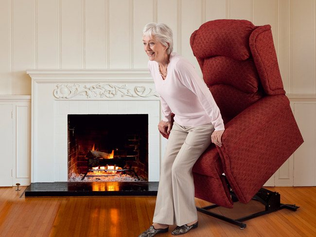 Red reclining and tilting chair
