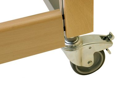 Castors on wood bed frame