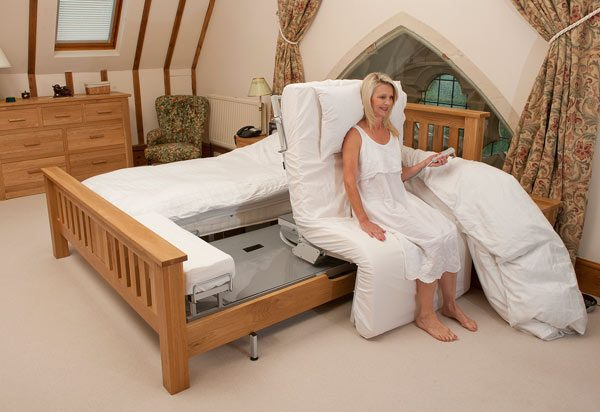 Woman using a Rotoflex turning bed