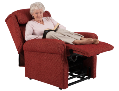 woman reading in red reclining chair