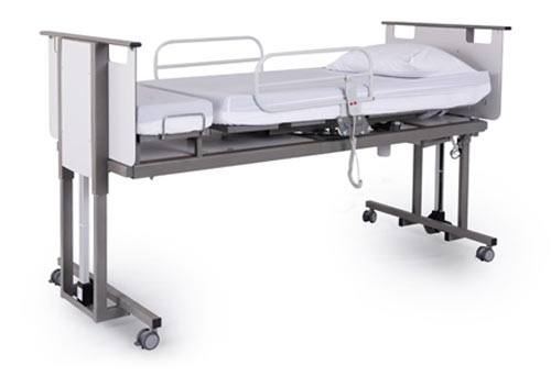 Rotoflex community hospital bed in raised position