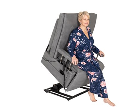 woman in grey reclining tilted chair