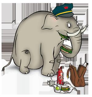 elephant lunch illustration