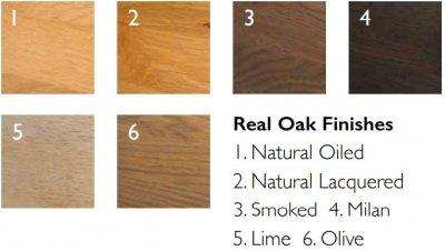 Oak finishes chart