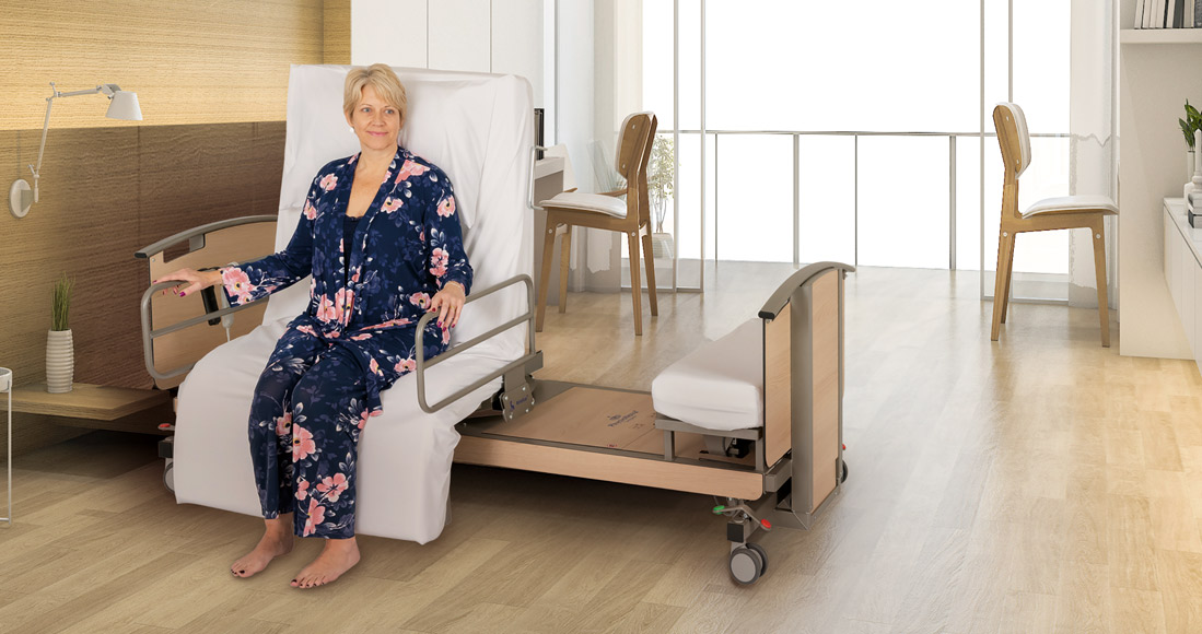 Woman sat on adjustable bed