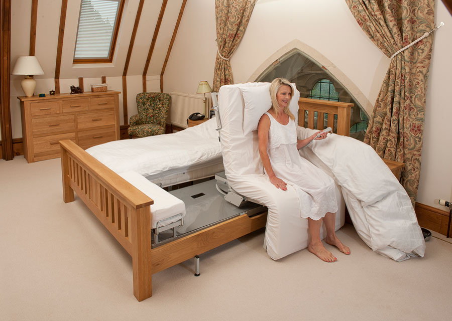 woman sat on double adjustable bed
