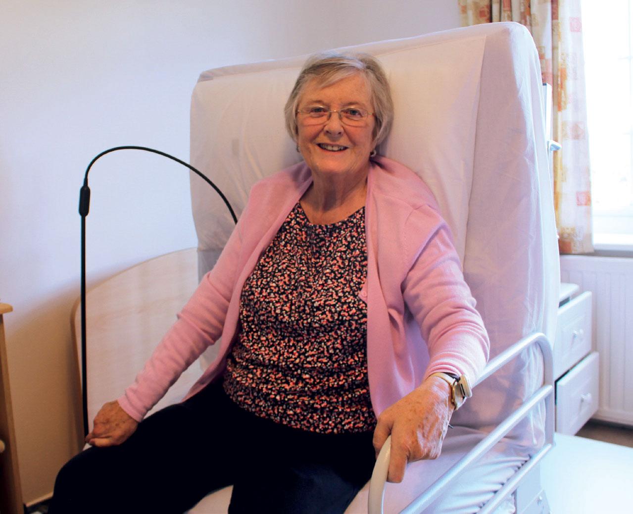 Linda sat on her Rotoflex Bed