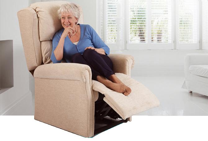 Woman sat in a reclining chair