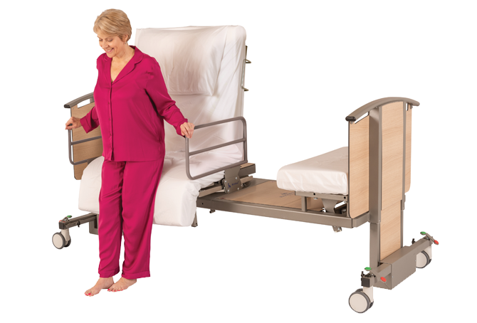 Woman standing up from a rotating bed